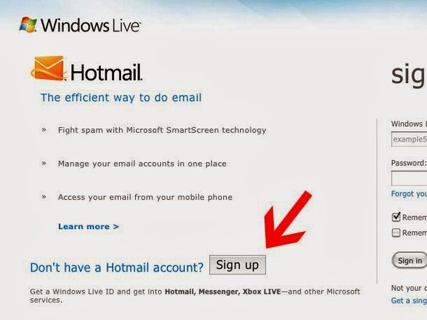 Live Hotmail Sign Up - Create a New Hotmail Email Account ...